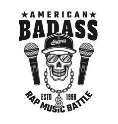 rapper skull text american badass emblem vector image