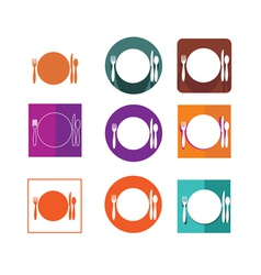 Restaurant icon logo set vector