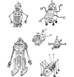 retro robots hand drawing black set vector image