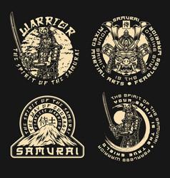 Samurai vintage monochrome emblems vector