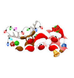 Santa claus deer and piglet 1 vector