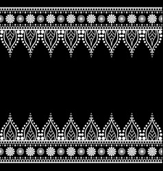 seamless indian mehndi henna line lace elements vector image