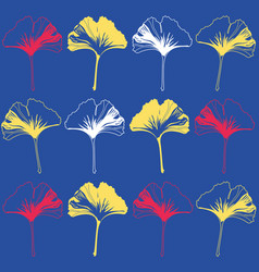 Seamless pattern ginko wax with yellow vector