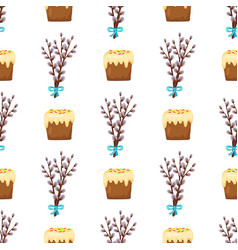 seamless pattern in easter concept willow and cake vector image
