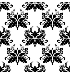 Seamless pattern with black flourishes vector image