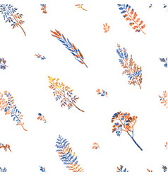 seamless pattern with herbs plants and flowers vector image