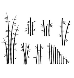 Set bamboo asian culture icons or asian bamboo vector