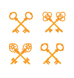 set crossed old vintage golden keys vector image