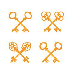 set crossed old vintage golden keys vector image