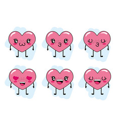 set hearts with arms and legs character vector image