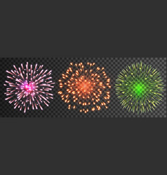 Set isolated fireworks vector