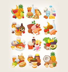 set of food icons arranged in categories vector image