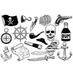 set pirate design elements design element vector image