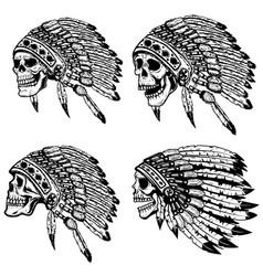 set skulls in native american headdress vector image
