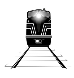 silhouette a diesel locomotive moving along the vector image