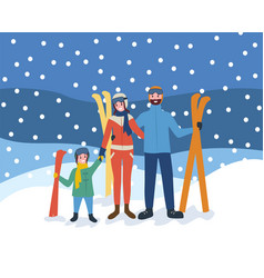 skiing family wintertime sports and hobby of vector image