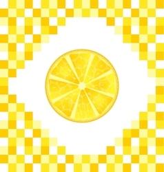 Sliced Lemon on Yellow Tiled Background vector image