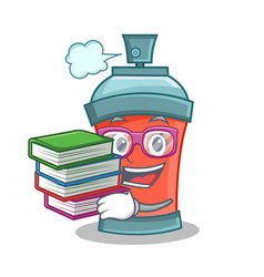 student with book aerosol spray can character vector image