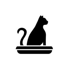symbol a cat in a toilet home pet litter box vector image