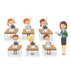 Teacher with pupils at a lesson isolated vector