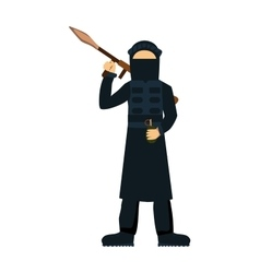Terrorist isolated on white background vector