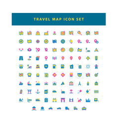 travel and map icon set with flat color style vector image
