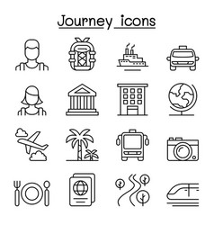 travel tourism icon set in thin line style vector image