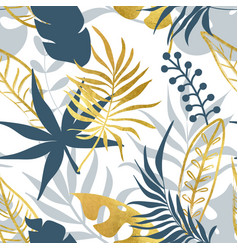 trendy seamless pattern with tropical leaves vector image