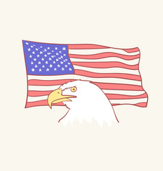 usa flag bald american eagle mascot icon vector image