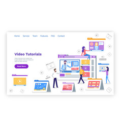Video tutorials web page with text sample devices vector