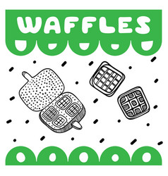 waffles cover for cafe sketch concept vector image