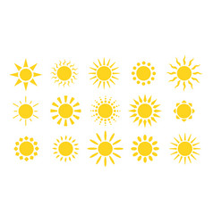 yellow sun icons suns rays flat sunny weather vector image