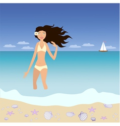 Young attractive brunette woman vector