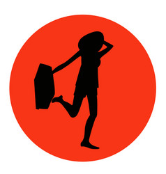 Young pretty traveller with a suitcase icon vector