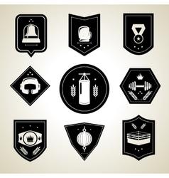 Boxing emblems set black vector image vector image