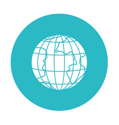 circle light blue with earth globe with meridians vector image vector image