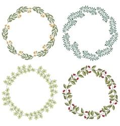 Hand drawn set of retro wreath vector image vector image