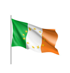 Ireland national flag with a star circle of eu vector