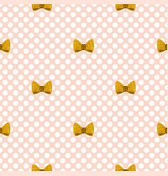 tile pattern with golden bows on a pastel pink vector image