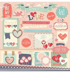 Valentines Day scrapbook set vector image