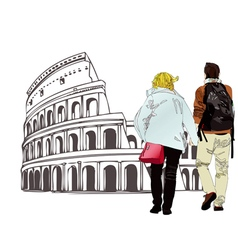 An engaged couple in Rome Italy vector image