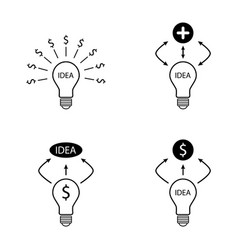 Bulb idea dollar and plus sign icons set vector