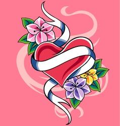 heart tattoo design vector image vector image