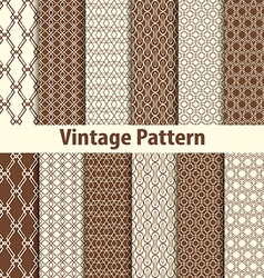 Set of nine seamless pattern in retro style vector image