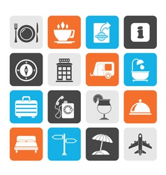 Silhouette Traveling and vacation icons vector image