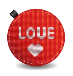 Valentines knitted heart vector image vector image
