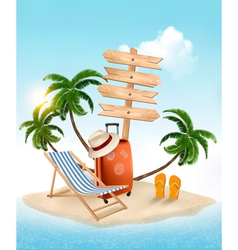 Beach with a palm tree wooden sign and a beach vector image vector image