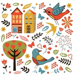 Colorful seamless pattern with birds flowers and vector image vector image