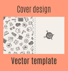 cover design with sewing pattern vector image