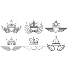 Linear crowns with wings vector image vector image